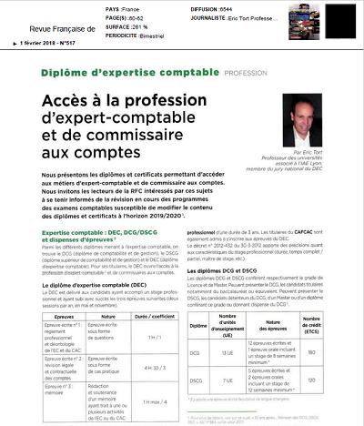 Accès à la profession d'expert-comptable et de commissaire aux comptes