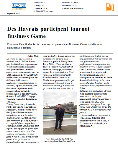 Des Havrais participent au tournoi Business Game